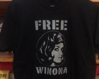 Orignal Free Winona Silk Screened Black T-Shirt