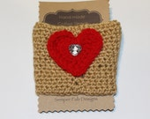Crochet Coffee Cozy, Coffee Cozy with Heart, Coffee Sleeve -- Ready to Ship