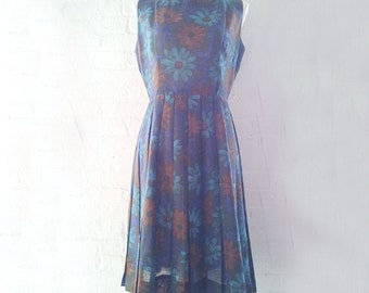 1960s Blue Fit and Flare Dress 60s Vintage Olive Dark Floral Autumn Day Dress Cotton Box Pleats Full Pleated Skirt Medium Garden Party Dress