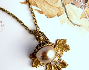 Fall leaf necklace, acorn long necklace, pearl charm, office jewelry, brass pearl crystal pendant, rustic wedding gift, Forest Autumn colors