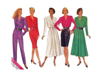 Dress & Jumpsuit Sewing Pattern 1980s Mock wrap front Sizes 8 10 12 Bust 31 1/2- 34 Butterick 4304 Classics Easy to Sew UNCUT Pattern
