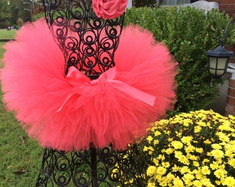 Coral Tutu Solid Coral great for those Newborn photos, photographers, Pageants, Birthdays, Pictures and much more