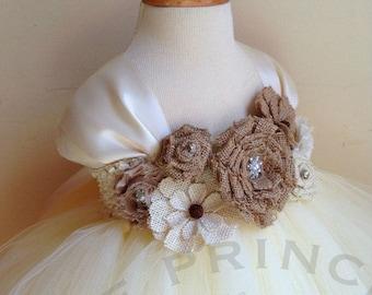 ivory flower girl dress, burlap flower girl dress, burlap wedding, flower girl dresses, todder dress, girl dress, baby dress, tutu dress