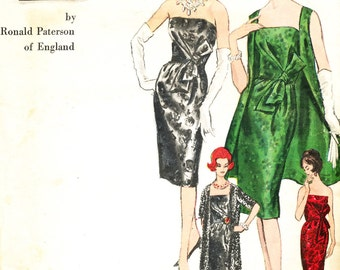 Vintage 60's Vogue Couturier Design Ronald Paterson 1113 - cocktail/evening dress and coat Bust 38