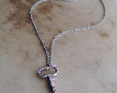 Pink Skeleton Key Necklace Beaded Pendant Jewelry Sparkle Victorian Fantasy