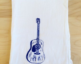 SALE: Guitar Screen Printed Tea Towel Blue