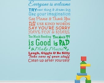 Playroom Rules Kids Removable Wall Decal Children Love Wall Sticker - Vinyl Lettering and Words Playroom Rules Quotes wl0179