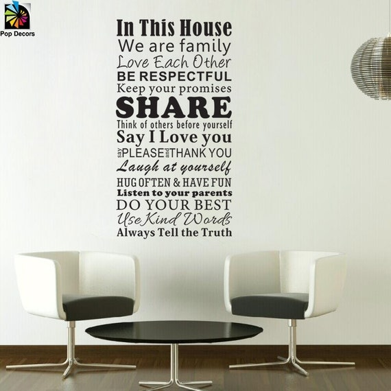 family rules wall decal home rules removable wall sticker