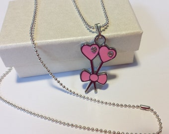 Sale! Pink crystal love hearts and bow Necklace