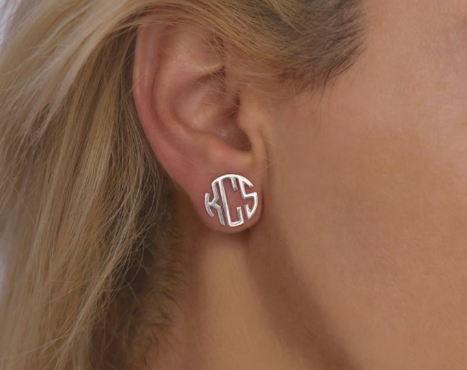Silver Monogram earrings Personalized Name Earrings, letter earrings initial earring, nameplate earrings, custom earrings