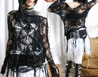 Gothic Punk Cobweb Loose Knit Fussy Acrylic Mohair Sweater Pullover See Through Show Tatoo