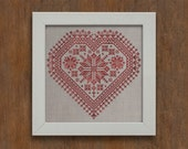 The Nordic Heart - Romantic Cross-Stitch Pattern 4 page Instant Download PDF booklet