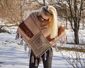 Knitting and crochet squared wool poncho with a neck warmer in beige, brown and green with tassels