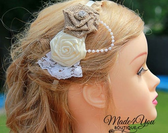 Burlap Flower Girl Headband - 53 Color Options - Bridal Wedding Headband - Bridesmaid Headband