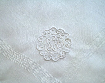 Linen Hankie with Monogram E Hand Embroidery Vintage Handkerchief