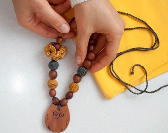 Apple Wood Owl Breastfeeding Necklace - Mustard Yellow and Charcoal
