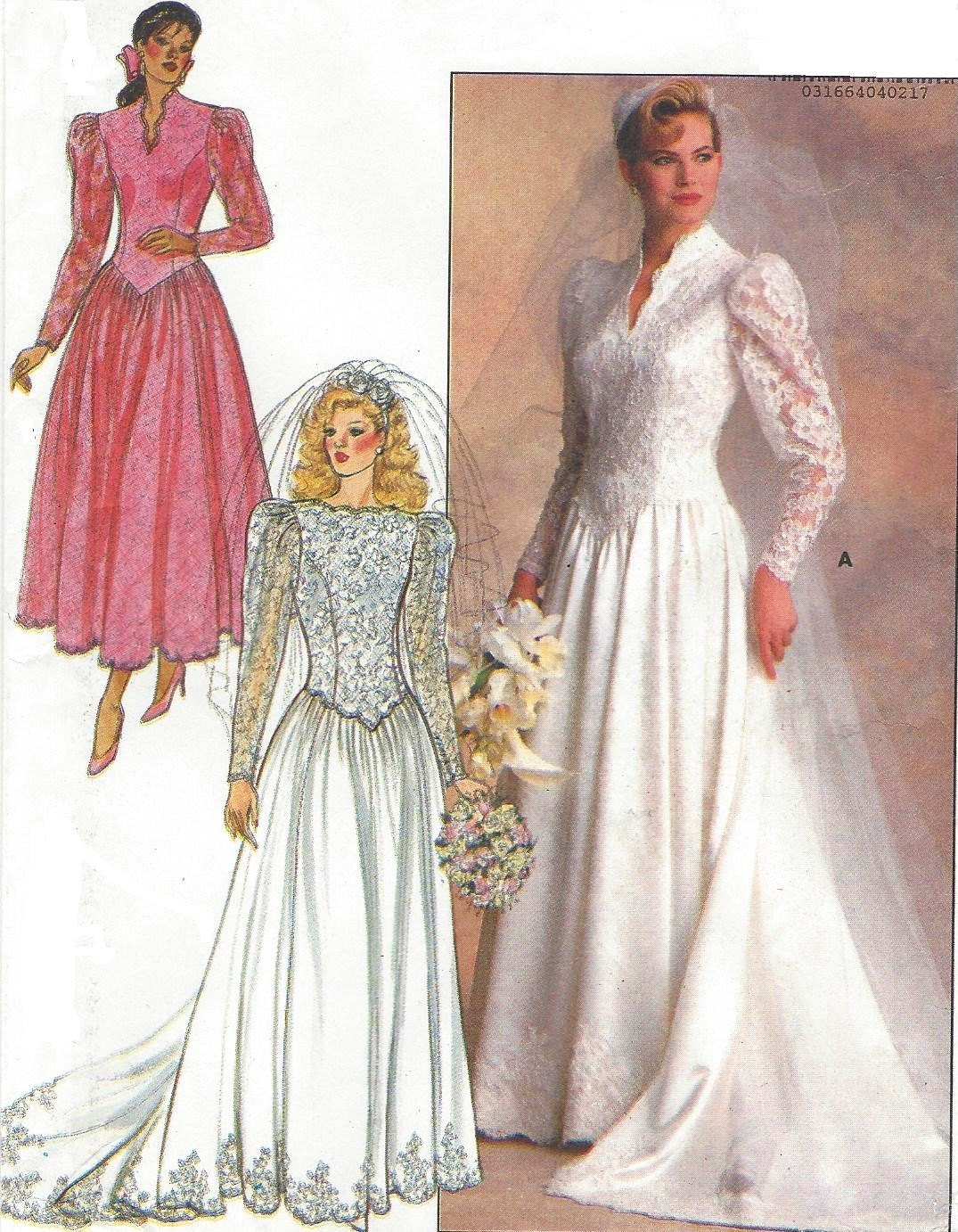 1980s wedding dress butterick sewing pattern 4646 womens for Butterick wedding dress patterns