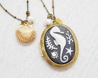 Personalized Mermaid Locket, Brass Gold Locket, Seahorse Locket, Custom Bridesmaid Gift, Shell Locket, Christmas, Clam Seahorse Gift Idea