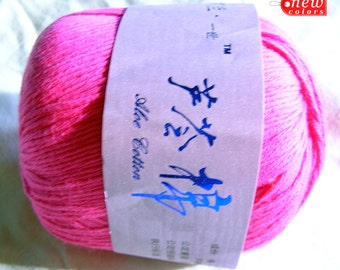 Egypt cotton and Aloe figber Yarn. Color candy pink.