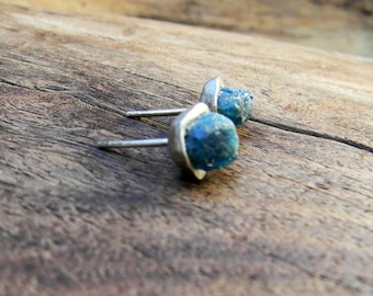 Vintage Earrings Apatite and Sterling Silver Raw Crystal