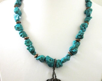 Lasso Lariat Necklace Western Barbed Wire Jewelry Chunky Turquoise Blue Brown Copper