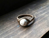 Wire Wrapped Howlite Antique Finish Ring