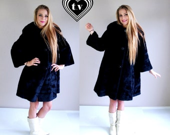 vtg 60s black Russian FAUX FUR Swing COAT swing Med/Large black mod outerwear cape
