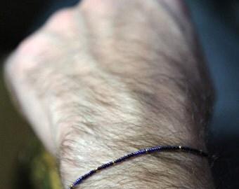 midnight stars mens bracelet - dark blue and medium blue very very very small bead bracelet with gold for men - MariaHelenaDesign