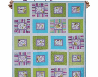 Quilt Kid BabyTeen bedding- Vibrant Purple, Blue & Green -  Ready to ship