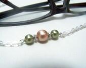 Silver Eyeglass Chain, Glass Pearls, Swarovski Element, Green and Peach, Eyeglass Holder, Reading Glass Chain,  by Eyewearglamour