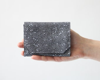 Small Wallet in Dotted Leather, Black and Gray,  small womens wallet