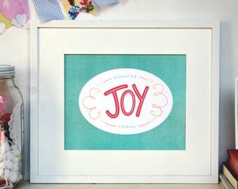choose joy, hand-lettered encouraging print