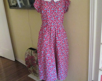 Vintage Cotton Cherry Dress / Peter Pan Collar Polkadot Dress  / 50s Dress Medium Large