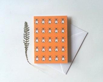 Bees greeting card garden notecard