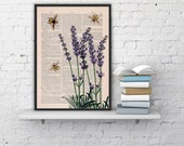 Wall art home decor Bees with Lavender flowers Dictionary art poster print- Wall decor bees insect wall hanging- art gift.Poster art BPBB117