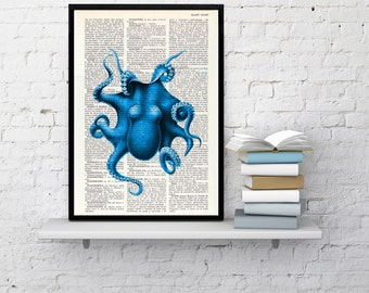 Summer Sale Electric blue Octopus Print, Dictionary art, Wall decor Blue octopus  wall decor, Sea life wall art , Octopus print art SEA105