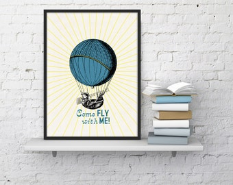 Summer Sale Hot air Balloon  wall art  Come fly with me collage Love and Transportation collage Print White Typography art TVH121WA4