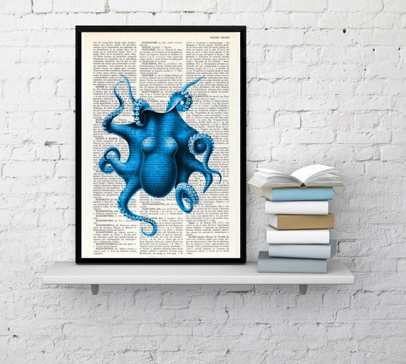 Electric blue Octopus Print, Dictionary art, Wall decor Blue octopus  wall decor, Sea life wall art , Octopus print art SEA105