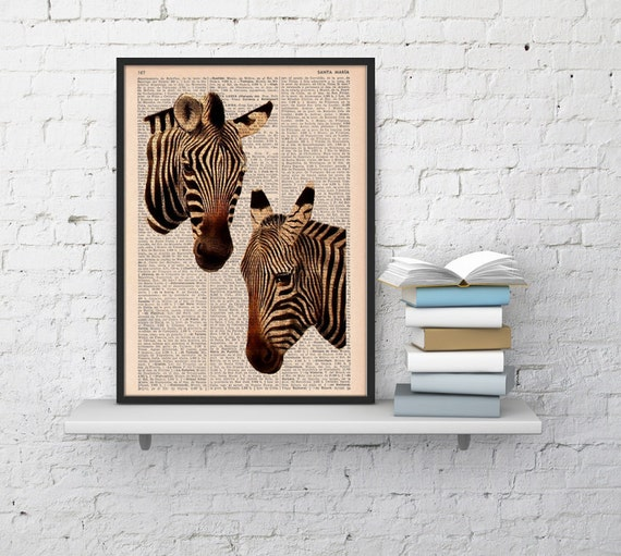 Christmas Sale Zebras in love  Dictionary Book Print  Altered art on upcycled book pages BPAN01