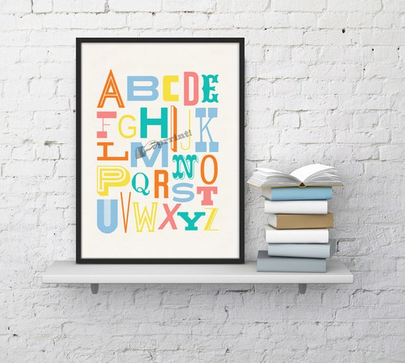 Spring Sale Wall hanging bright colors Nursery Alphabet- Typography collage, art nursery wall decor poster printed cardboard WP045