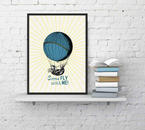 Spring Sale Hot air Balloon  wall art  Come fly with me collage Love and Transportation collage Print White Typography art WTV116