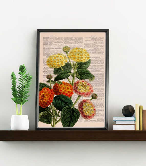 Spring Sale Lantanas bouquet printed on Dictionary Page wall art home decor, wall hanging, flower Lantana wall decor BPBB110
