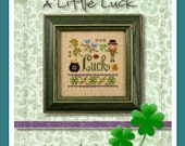 A Little Luck cross stitch kit : Lizzie Kate cross stitch patterns St. Patrick's Day shamrock clover green March counted hand embroidery