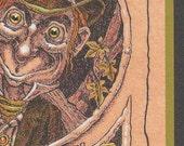 Greeting card Mad Hatter mini-poster original art postcard envelope Alice in Wonderland green