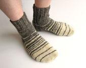 Striped Hand Knitted Socks - Handspun Undyed Wool Yarn -100% Natural, Organic Clothing