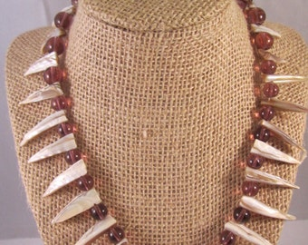 Shell and Glass Beads Statement Necklace, Jaws