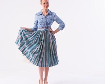 1950's Striped Circle Skirt/ 1950's High Waisted Pleated  Full Skirt