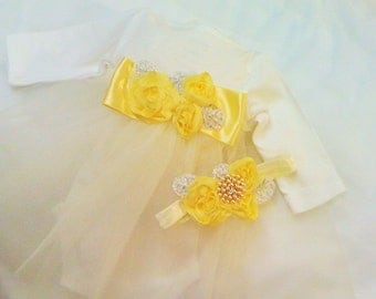 Newborn Girls Princess Set with Matching Headband take me home outfit