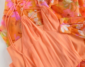 Peignoir Set Blanche by Ralph Montenero Nightgown and Robe in Orange with Semi Sheer Neon Floral