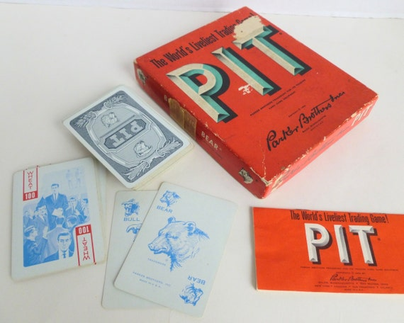 Pit Playing Cards Game by Parker Brothers Stock Market Commodities Trading Playing Cards 1962 Mid Century Mad Men Graphics